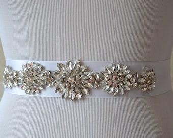 Wedding Belt-Bridal Belt-Sash Belt-Crystal Rhinestone Belt-White Bridesmaid Sash