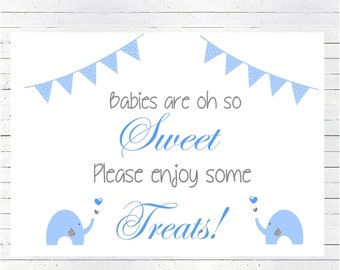 INSTANT DOWNLOAD Baby Shower Candy Buffet Sign, Candy Buffet Sign, Elephant Sign