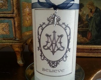 """Believe"" candle with stand"
