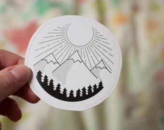Sunshine Mountains Round Decal: Laptop Sticker