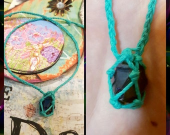 All Natural Hemp and Quartz Necklace