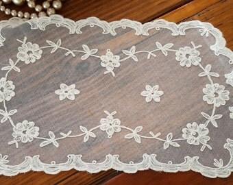 Pretty Antique Tambour Lace Doily
