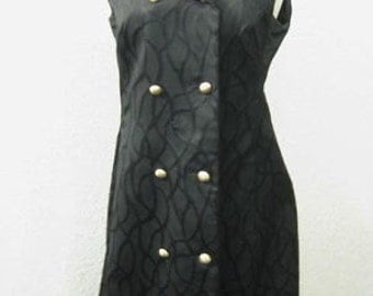 Vintage 1950s/1960s Black Brocade Fiale Double-Breasted Sleeveless Wiggle Dress (Size L)