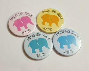 Personalised Mummy to be / cute elephant Baby Shower Badges / Unisex Colour