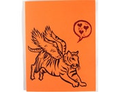 Flying Tiger embossed card