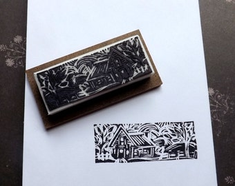 Old Farmhouse Rubber Stamp Hand Carved
