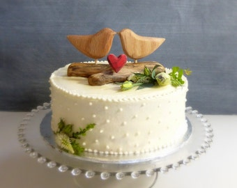 Romantic Love Bird Cake Topper, Rustic Wood, Love Bird Wedding Cake Topper, Rustic Bridal Topper, Wood Wedding Decor