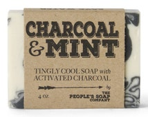 Activated Charcoal Soap with Tea Tree - Cool Minty Tingly Face Soap with Lavender and Peppermint - Moisturizing Natural Handmade Soap