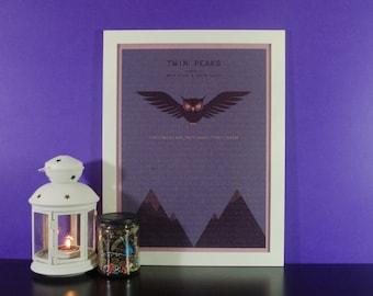 Minimal Twin Peaks Illustrated Print