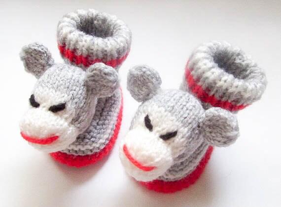 Knitting Pattern For Sock Monkey Mittens : Knitting Pattern Sock Monkey Beanie Booties Mittens Pattern Bundle Animal Hat...