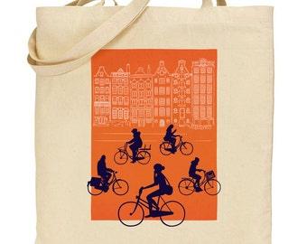 Amsterdam Cyclists Tote Bag