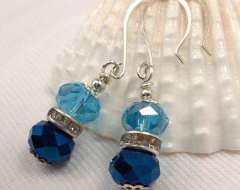 Blue Earrings, Blue Crystal Dangle Drops, Aqua Blue Crystal Earrings, Metallic Blue Dangles, Light & Dark Blue Earrings, Gift For Her (E66)