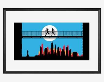 New York print, New York Marathon, gifts for runners, Running print, Running poster, running art, Fitness print, Fitness gift, Fitness art