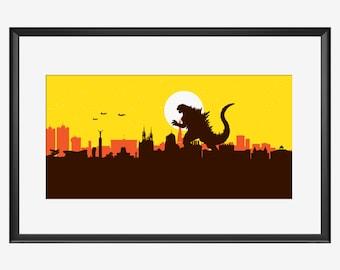 Samara Skyline, Samara print, Samara art, Samara poster, Godzilla inspired print, Kaiju art, Kaiju print, Kaiju poster, Kuybyshev art, print