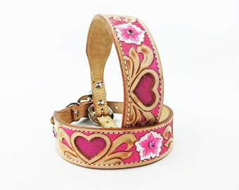 MadcoW Western Style Metallic Pink Floral Heart Canine Leather Dog Collar HandMade Fully Adjustable