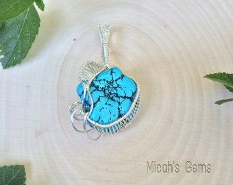 Turquoise & Sterling Silver wire wrap pendant