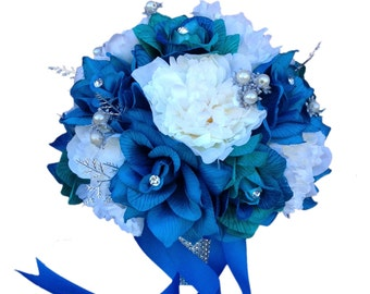 10 inch Bouquet-Shades of Jade Turquoise and Ivory. Rose and Peony bouquet