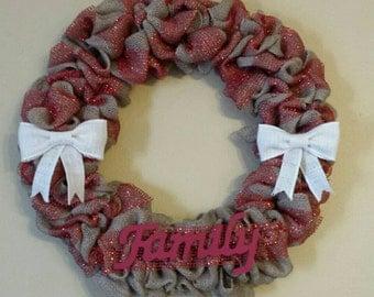 Handmade Burlap Wreath, Red Wreath, Family, Christmas Decor