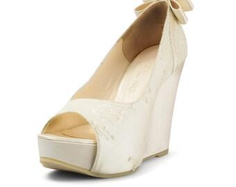 Averyl Custom Made Ivory Lace Wedges, Ivory Platform Lace Wedges, Ivory Lace Wedding Wedge, Ivory Lace Bridal Shoes