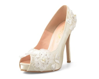 Lorraine V2 Ivory Lace Bridal Heels, White Satin Heels with Lace, Ivory White Wedding Heels, Ivory Lace Bridal Heels with Crystal