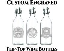 Custom Wine Bottle- 34oz Customized Engraving- Flip Top Wine Bottle