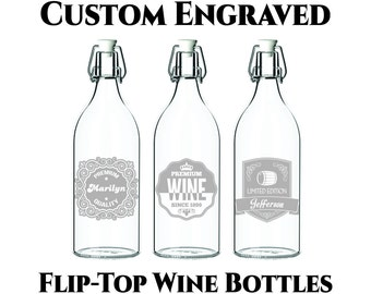 Custom Wine Bottle- 34oz Customized Engraving- Flip Top Wine Bottle