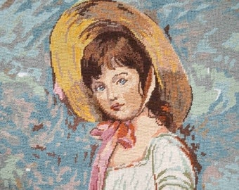 French hand made needlepoint tapestry young girl portrait