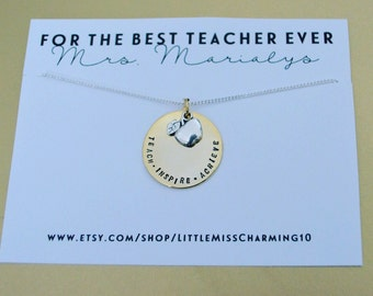 Teacher necklace, teacher appreciation gift, best teacher ever