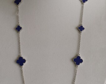 """Rhodium Plated Clover Necklaces, 36"""" Long, Navy Blue color clover,four leaf clover,Mother's day gift"""