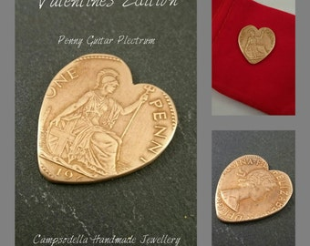 Heart Guitar plectrum pick made from vintage British one penny coin bronze quirky valentines gift
