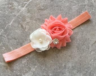 Ivory coral headband, Baby Hair Bow, flower headband, baby headbands, shabby chic roses, baby girl headband, hair bow