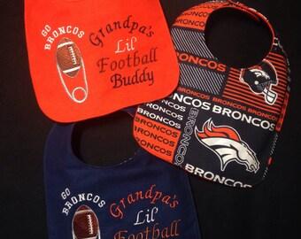 REVERSIBLE Denver BRONCOS inspired,gender neutral Baby bib, Cutest Lil' Fan;daddy/Papa/Grandpa's buddy baby bib;personalization option