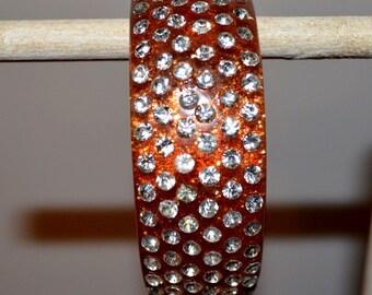 Vintage Fab Sparkle Amber Wide Row Crystal Clear Rhinesone Bangle Bracelet