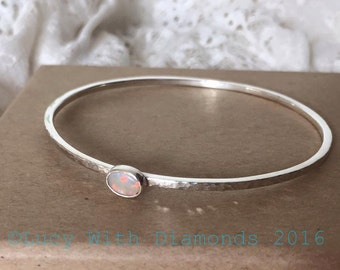 Sterling silver hammered finish bangle with opa