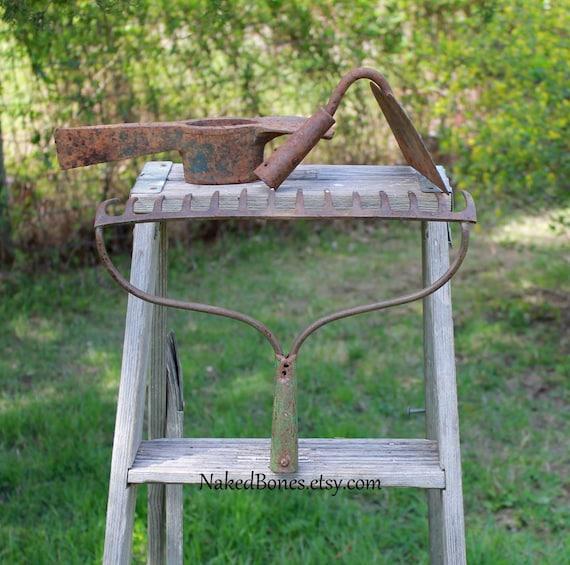 Rusty Garden Tools Rake Hoe Pick Mattock Tool Heads