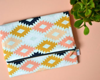 Tribal Foldover Clutch, Fold Over Bag for Her, Aztec Print Clutch, Navy Zippered Boho Clutch, Navajo Purse, Bridesmaid Gift, Fall Clutch Bag