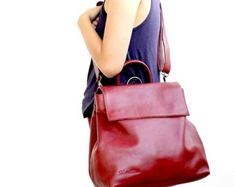 ON SALE Leather crossbody bag , Leather shoulder bag in bordeaux , convertible leather backpack women