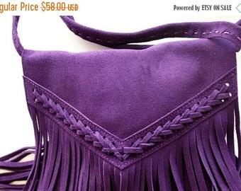 ON SALE Boho fringe bag in purple , Leather fringe bag , suede fringe bag , Fringe purse