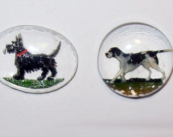 2 Art Deco Reverse-Carved Glass Pieces for Jewelry, Scottie Dog & Pointer