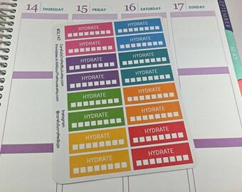 Hydrate Planner Stickers, Rainbow Sticker, Hydrate, Water, H20 Checklist Sticker, Erin Condren, Plum Paper, MAMBI, planner accessory