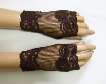 Holidays, Mittens, Chocolate Brown Lace, Burlesque, Retro, Gothic, Short Fingerless Gloves with Thumb Holes. IDEAL for HER