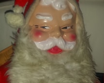 """Vintage 50""""Large Plush Santa Claus Kris Kringle Father Christmas Rubber Face Ho Ho Ho This Jolly Old Elf Is Stuffed Solid!"""
