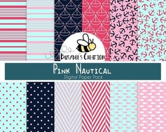 80% OFF - Pink Nautical Digital Paper Pack - Nautical Scrapbook Paper - Pink and Navy Nautical Digital Papers - Pink Scrapbooking Papers