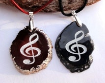 Treble Clef Natural Agate Engraved Big Pendant Necklace  Jewellery/Jewelry Natural Engraved Musician Nice gift Your Color Choice