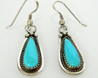 Native American Navajo Turquoise Sterling Silver Handmade Teardrop Earrings