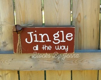 Jingle all the way wood block