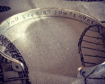 Sterling silver cuff bracelet 'you have no power over me' #Labyrinth