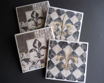 Fleur de lis Coasters ~ French Decor ~ Ceramic Tile Coasters ~ Black and White Coasters ~ Drink Coasters ~ Housewarming Gift ~ Shower Gift