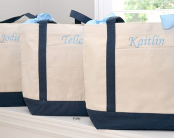 Bridesmaids Totes Monogrammed in Black or Navy - Personalized Poshy