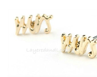 Engagement / MRS / Bride / Wedding / Honeymoon / Say Yes / Earrings / Gold or Silver ~ Mr and Mrs